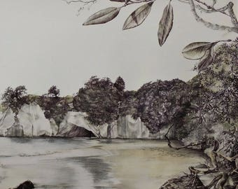 pen and pencil drawing limited edition print - Only on a very early morning (large)