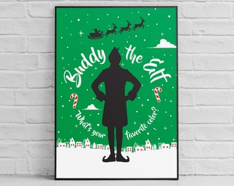 Buddy the Elf posters: Elf poster, Elf movie poster sign, Elf Christmas gifts, Whats your favorite color, funny quotes, Will Ferrell poster