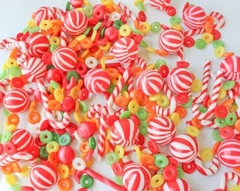Vintage Bright Colored Christmas Candy Plastic Blow Mold Garland-Candy Cane