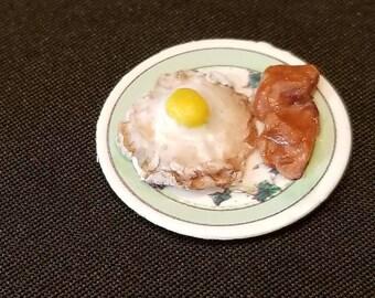 "1"" scale dollhouse miniature eggs and bacon"