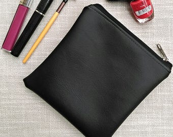 Small zip bag, clutch, grab, make up, coin, travel, medicine, dance, pouch, vegan, faux leather