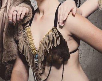Brown Fur & Fringe Burning Man/Rave Bra