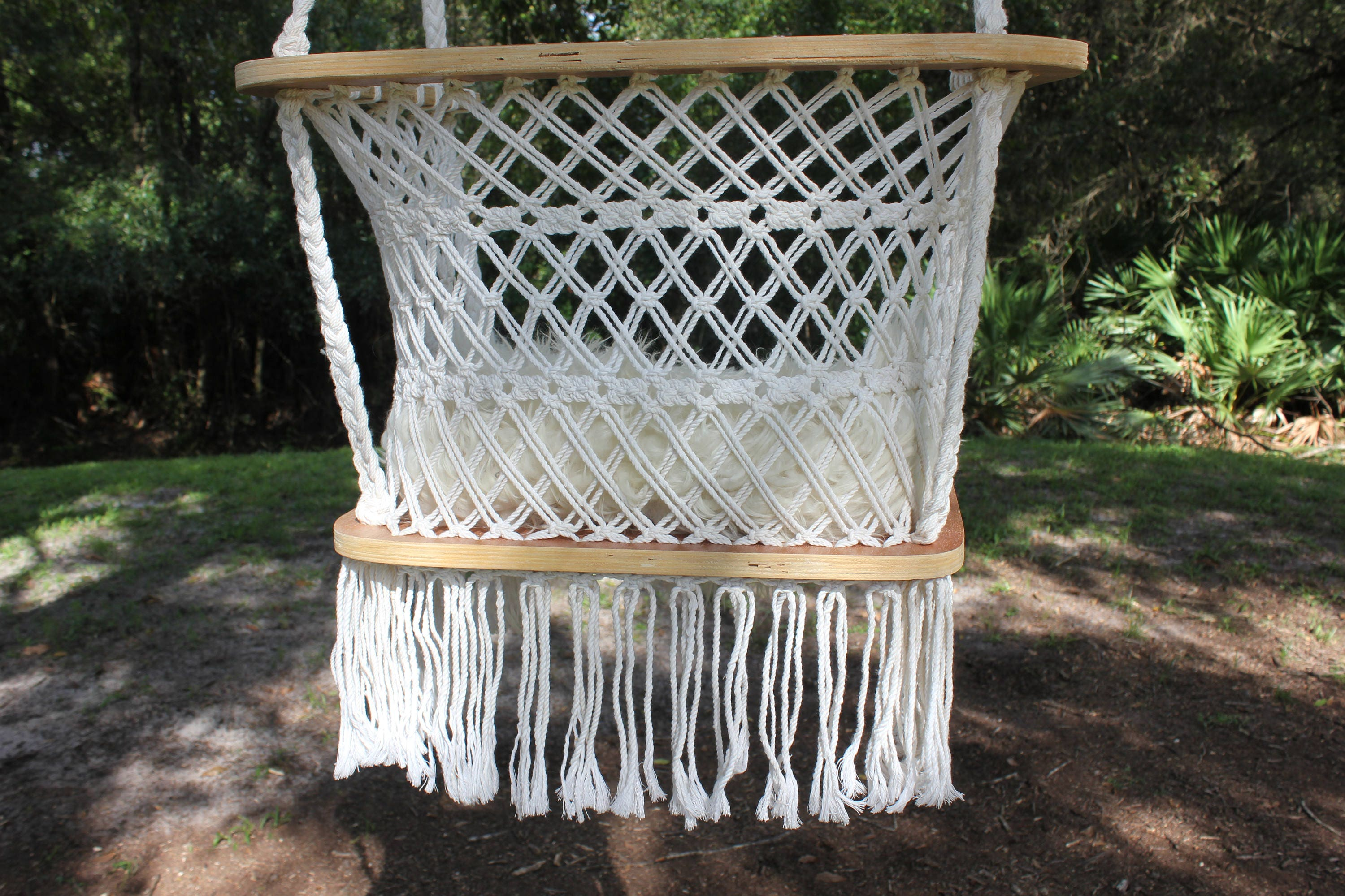 Handmade Vintage Macrame and Wood Frame Hanging Swing Chair