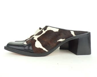 Vintage Franco Sarto Cow Print Clogs Size 8M, Leather Clogs, Cow Print, Mules, Brown & White Print, Franco Sarto, Open Back Clogs, Cows