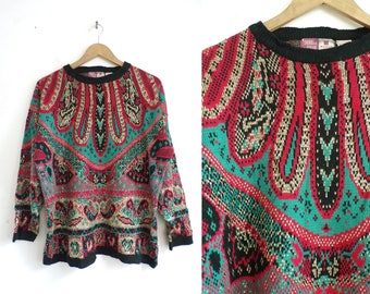 80s Paisley Sweater Metallic Gold Sweater Knit Acrylic Sweater Funky Shiny Retro Pullover Crew Neck Sweater Womens Jumper XL Red Green Black
