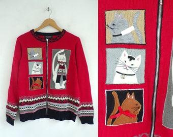 Cat Theme Cardigan Sweater, 90s Red Black Cat Sweater, Kitten Print Zip Front Cardigan Ramie Cotton Sweater Women's Medium. New Old Stock