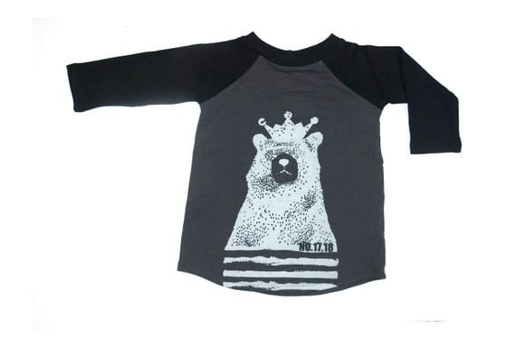 LUPIN - long sleeve baseball shirts with Cokluch Mini No.17.18 bear for kids: boys and girls - grey charcoal