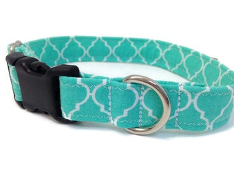 Teal Quatrefoil dog collar-Teal dog collar- Small dog collar- Dog collar- lattice dog collar, modern dog collar, girl dog collar, boy dog