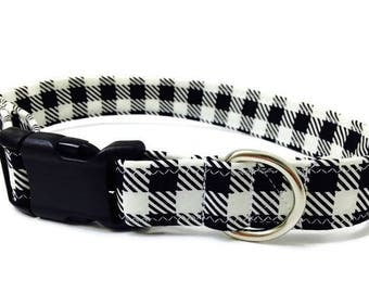 Black and White Buffalo Plaid Collar,  Christmas Dog Collar, Holiday Dog Collar, Large Dog Collar,  Boy Dog Collar, Girl Dog Collar
