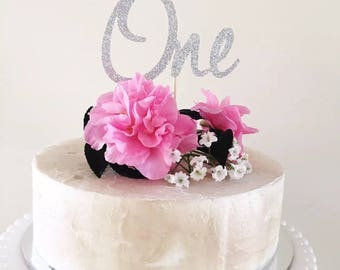 1st Birthday Cake Topper Silver Glitter