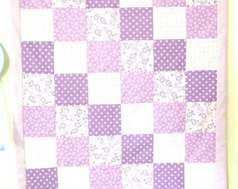 Purple square patchwork baby blanket