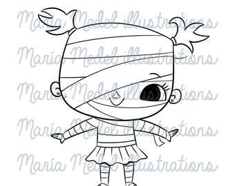 HALLOWEEN momia chica digital sello, Ilustración de arte de línea para scrapbooking, tarjeta que hace, adultos y niños para colorear, manualidades.
