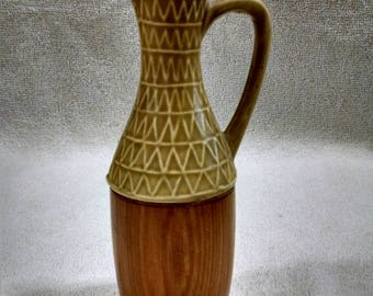 Teak and Stoneware Oil Vineger Bottle
