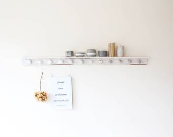 Decorative hanger with our concrete hooks / knobs made from reclaimed wood and whitewashed. Options.