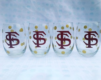 Florida State Stemless Wine Glasses, Set of 4