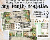 Any Month Monthlies -MOOSE monthly view spread - Erin Condren, Happy Planner Classic Big Mini, Recollection - pick a month winter woodland