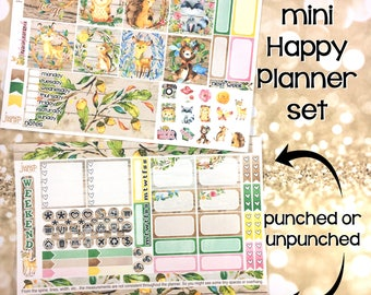 Into the Woods Fall Autumn set / kit weekly stickers - HAPPY PLANNER MINI- woodland animals September October November
