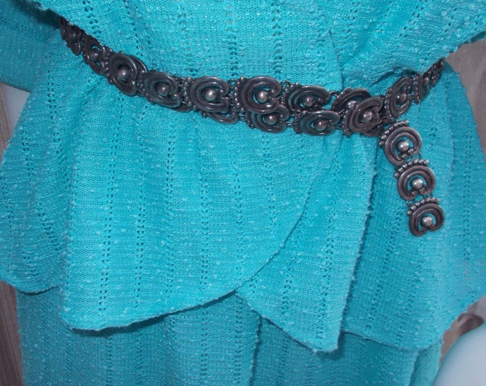 Vintage 50s Boho Hippie Chic Mexico Taxco 925 Sterling Silver Cowgirl Southwest Artist Signed Chain Link Belt