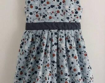 Prom Style Dress. Girls Dress. Party Dress. Summer Dress. Tea Dress. Bird Dress. Cotton Dress. 6 - 7 years. Pickle Millie.
