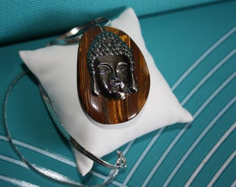 THE BUDDHA SILVER CHOKER NECKLACE AND TIGER EYE