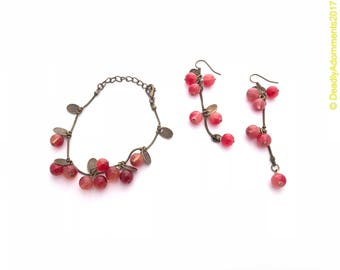 Vintage Inspired Antique Bronze Cherry Bracelet and Earrings Set
