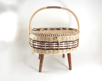 Vintage sewing stool - plastic weaving, woven, lid, handle, wooden legs, storage inside, midcentury sewing hamper - very lovely!