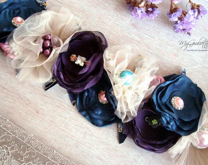 Belly Sash, Flower Wedding Belt, Prom Sash, Sash Belt Rose Quartz, Beige Turquoise, Waist Sash, Belt with Flowers, Bridal Dress Sash, Violet