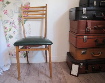 Chair Bistro - Office Chair - wood-vintage - Chair wood Chair and leatherette - Chair 1950's - 50' 60'