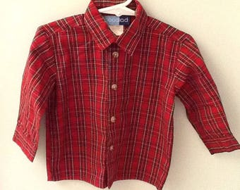18 Month Boy's Holiday Plaid Shirt