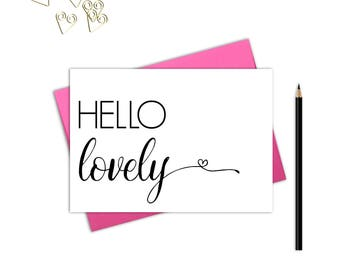 Hello lovely note card, Thank you cards, Hello note cards, Hello lovely, Hello note cards, Greeting cards blank inside, Cute stationery
