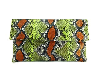Orange lime motif python leather foldover clutch bag