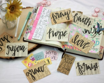 Inspirational Mini's- Vintage Hymnal pages with inspirational words- journaling, bible journaling