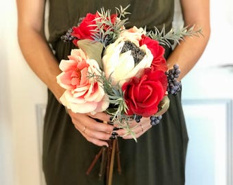 Bohemian Bridesmaid Bouquet - Faux Flowers