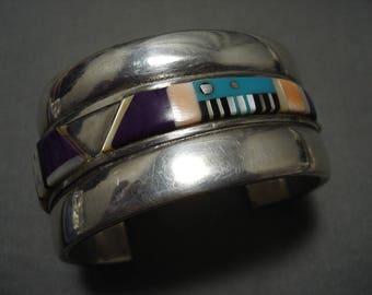 Museum Vintage Navajo 'Piano Key Turquoise' Sugulite Silver Bracelet