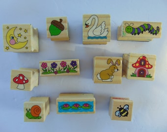 Lot of 11 Wood Mounted Animals Flowers Rubber Stamps #9