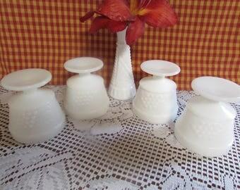 Milk glass dessert Cup, VINTAGE set of (4) vintage Embossed Fruit Design, Fruit Cup, Ice Cream, sherbet Dishes