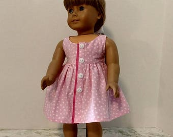 Pink and white print dress for American Girl Size Doll.   A636