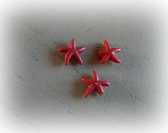 3 beads 15 mm red howlite starfish