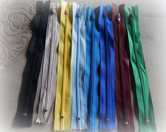 8 colors mixed lot 3 20 cm zips