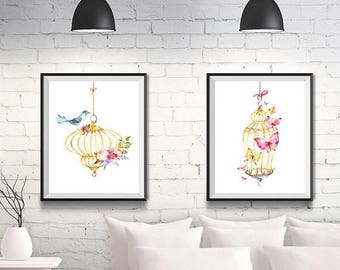 LARGE PRINT SALE 55 Percent Off 5x7 set of 2, Bird nursery set, Girls room, Birdcage, Woodland theme, Baby shower gift, Watercolor birdcage,
