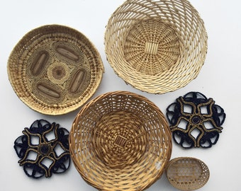 Group of Vintage Woven Baskets and Trivets (six pieces)