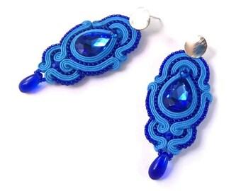 """Soutache earrings """"Stormy Sky"""", blue soutache earrings, big earrings, soutache jewelry"""