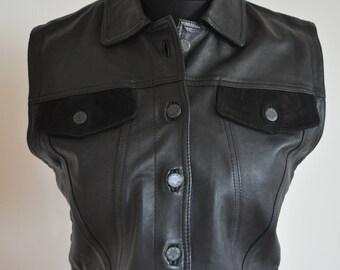 Vintage Genuine Leather Vest / Black / 40 / Biker /  Medium / M / Leather / Suede / Top / Short