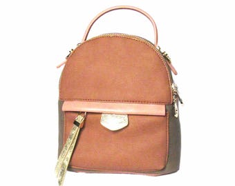 Stylish Tri-Color Pink Beige Strap Leather Backpack Top Handle Bag