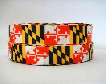 "5 Yards 7/8"" Maryland Flag Grosgrain Ribbon Crafts Bows Scrapbooking"