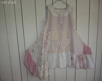 Pink dress and white shabby chic with patchwork and lace