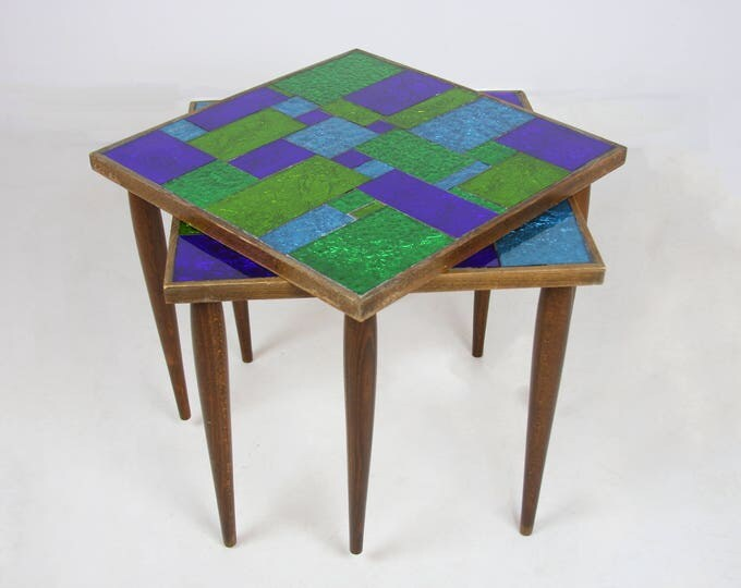 Pair of GEORGE BRIARD Signed Nesting Tables Mid Century Modern Blue And Green Tile