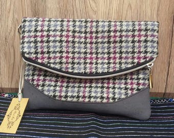 Purple, Black & Grey Houndstooth Harris Tweed Folded Clutch/Purse/Handmade/Zip/gift for her/grey cork/bag