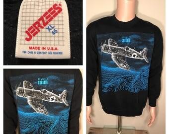 1989 blackbird F4U Corsair sweatshirt // vintage airplane jet fighter // flying // Air Force // 80s tee // adult size XL Large // crewneck