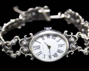 Vintage watch, solid silver watch, Adora vintage watch, '60's silver watch, vintage ladies watch, designer watch, fine silver wristwatch